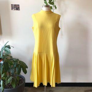 Vintage yellow drop waist pleated dress